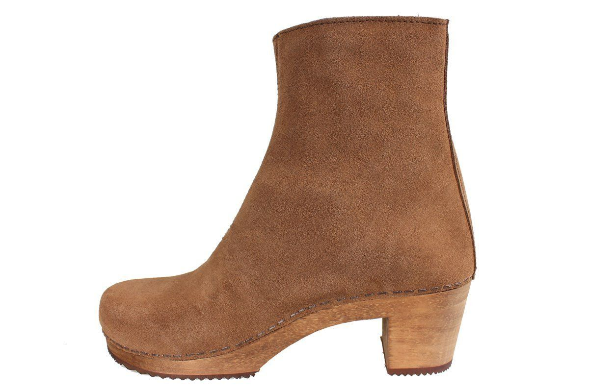 Lotta's Emma Clog Boots in Antique Brown Suede Leather