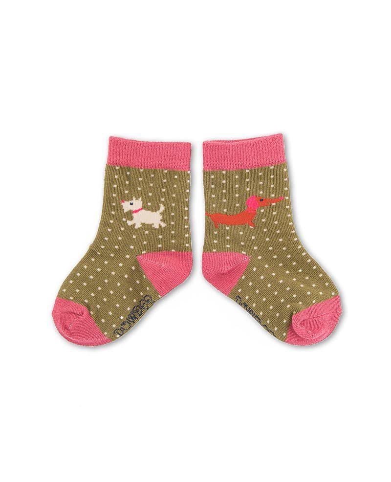 Westie Baby Socks in Moss