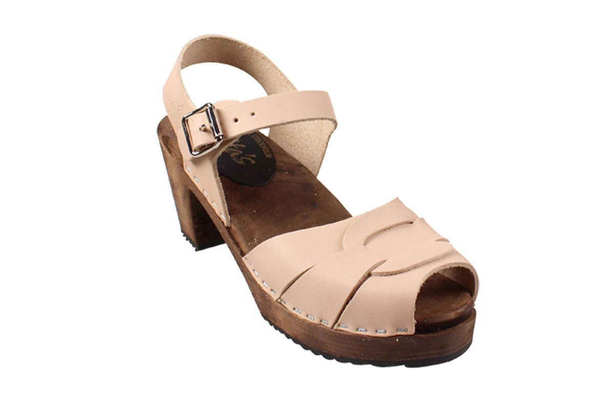 Peep Toe Clogs Cappuccino on Brown Base