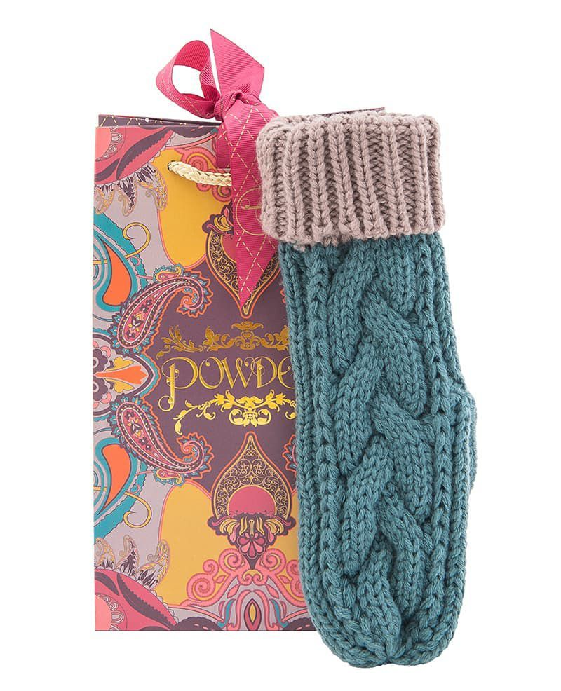 Powder Charlotte Mitten in Teal and Camel