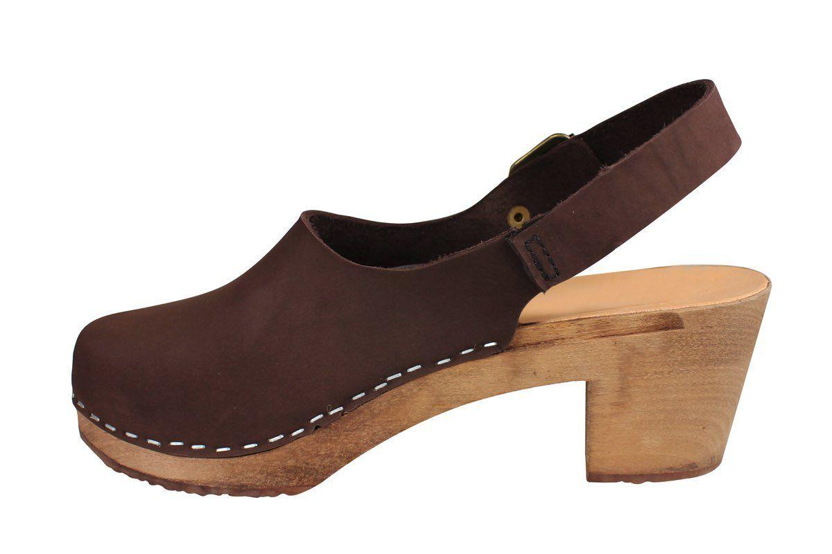 Eva Sling Chocolate Brown Nubuck Clogs