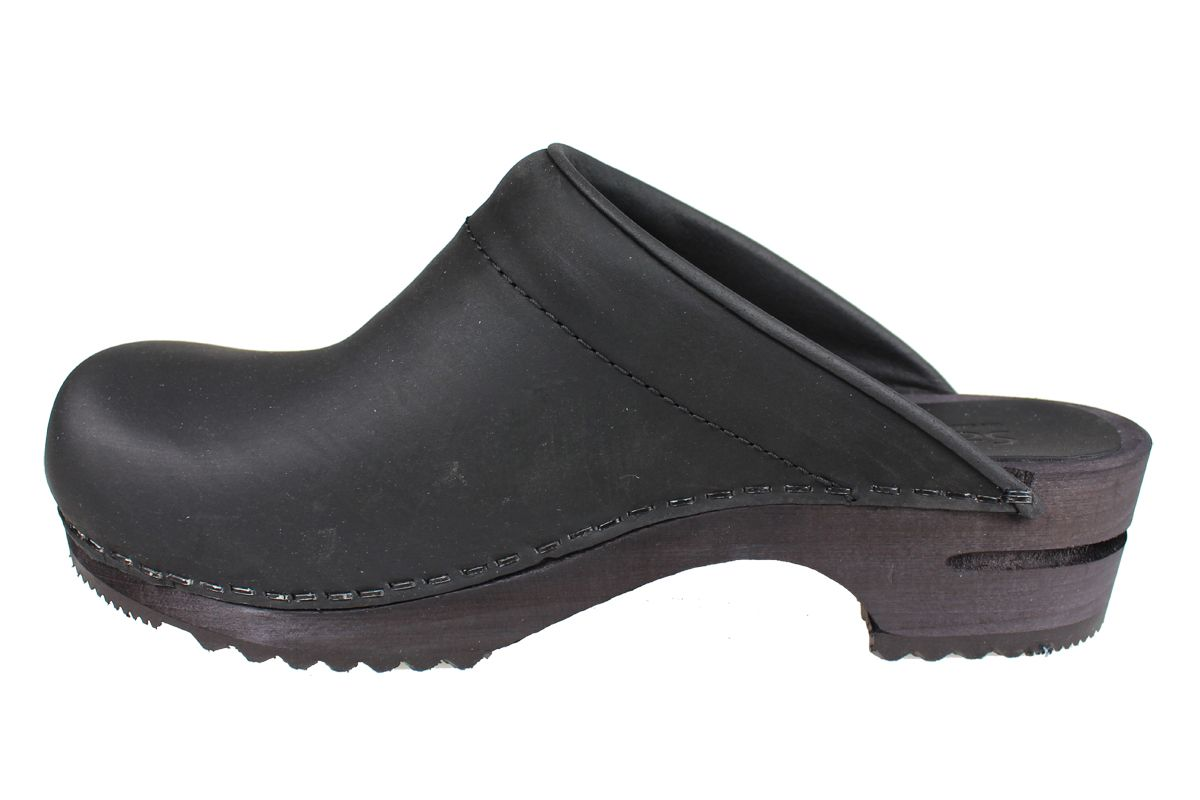 Sanita Chrissy Clogs in Black Oiled Leather
