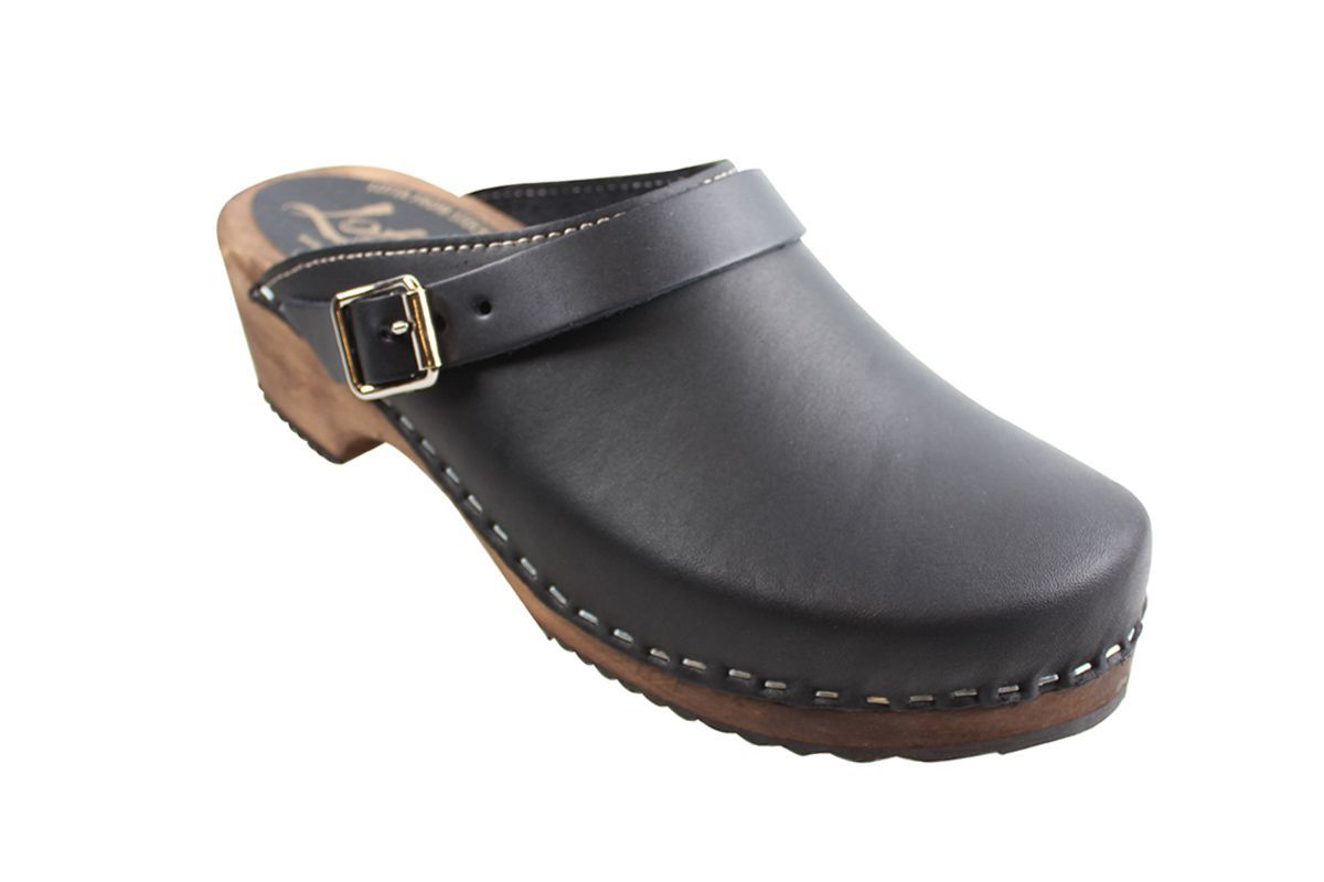 Classic black clogs with strap on Brown Base