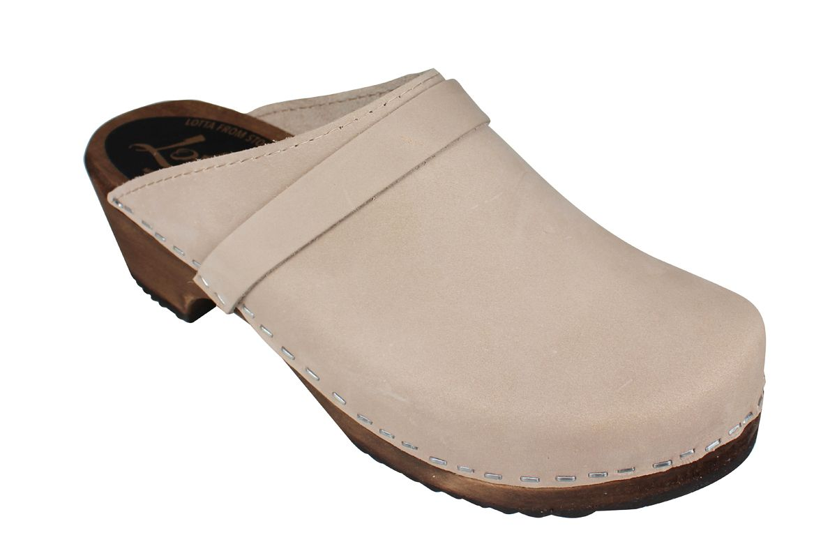 Classic Oatmeal Oiled Nubuck Clogs on Brown Base
