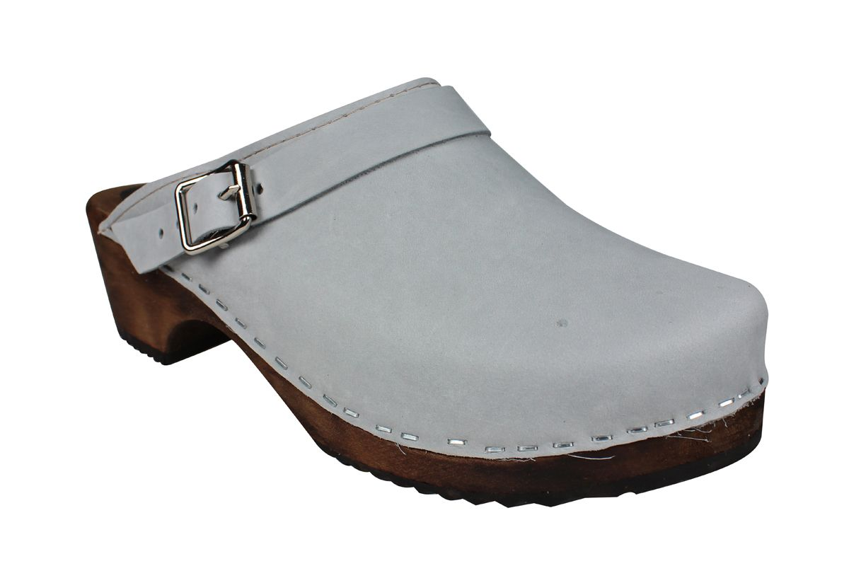 Classic Sea Grey Oiled Nubuck Clogs with Strap on Brown Base
