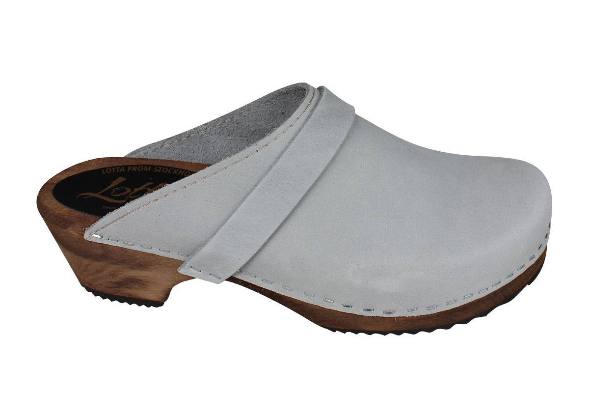Classic Sea Grey Oiled Nubuck Clogs on Brown Base Second