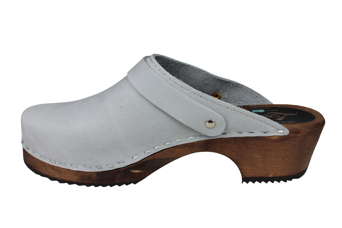 Classic Sea Grey Oiled Nubuck Clogs with Strap on Brown Base Seconds