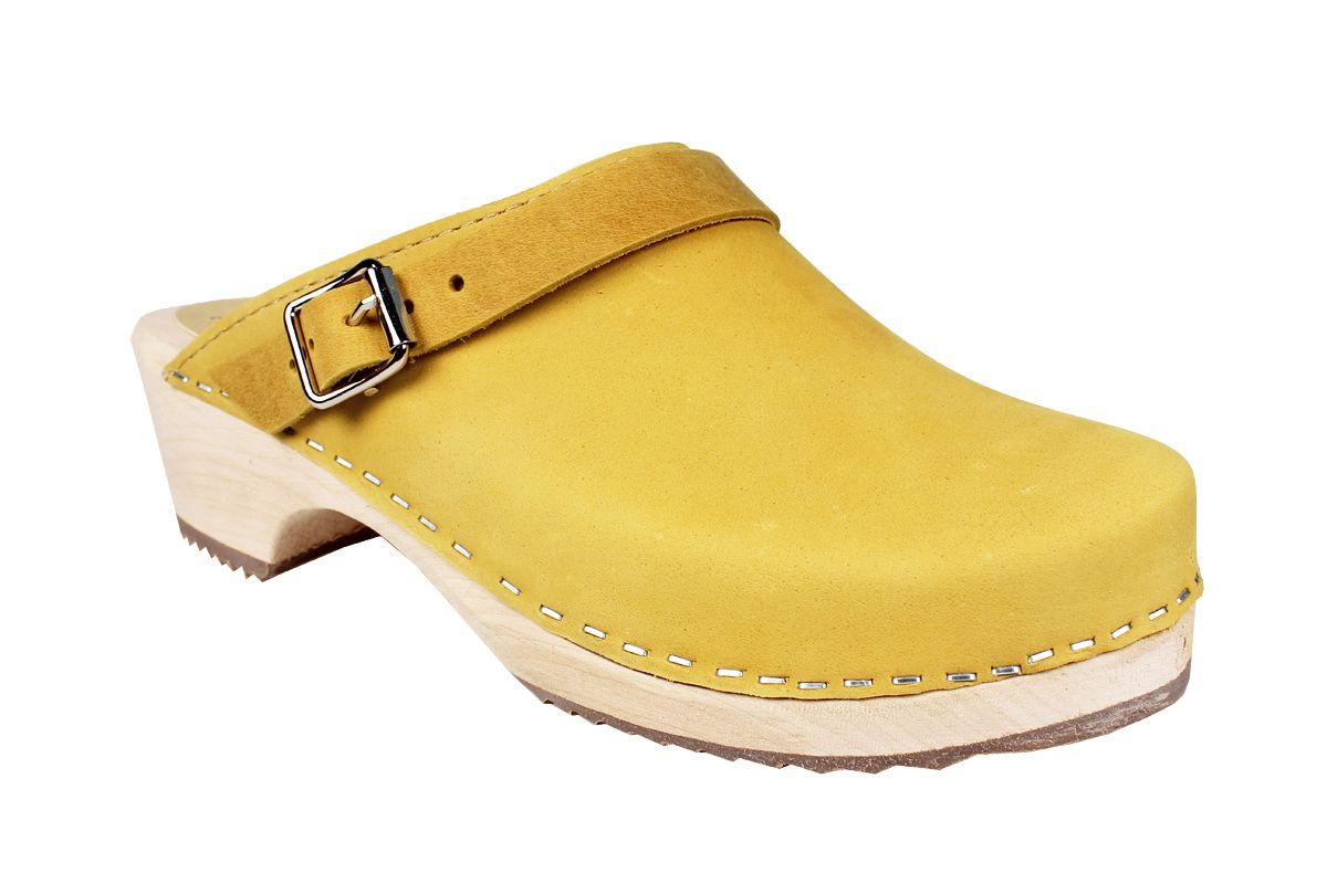 Classic Yellow Oiled Nubuck Clogs with Strap Seconds