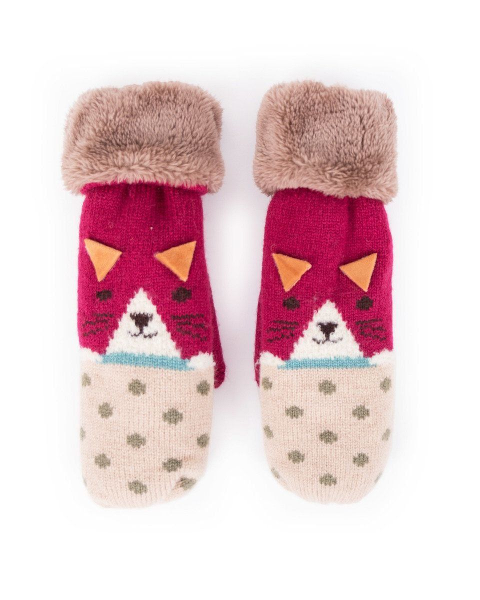 Powder Cosy Cat Mittens in Berry