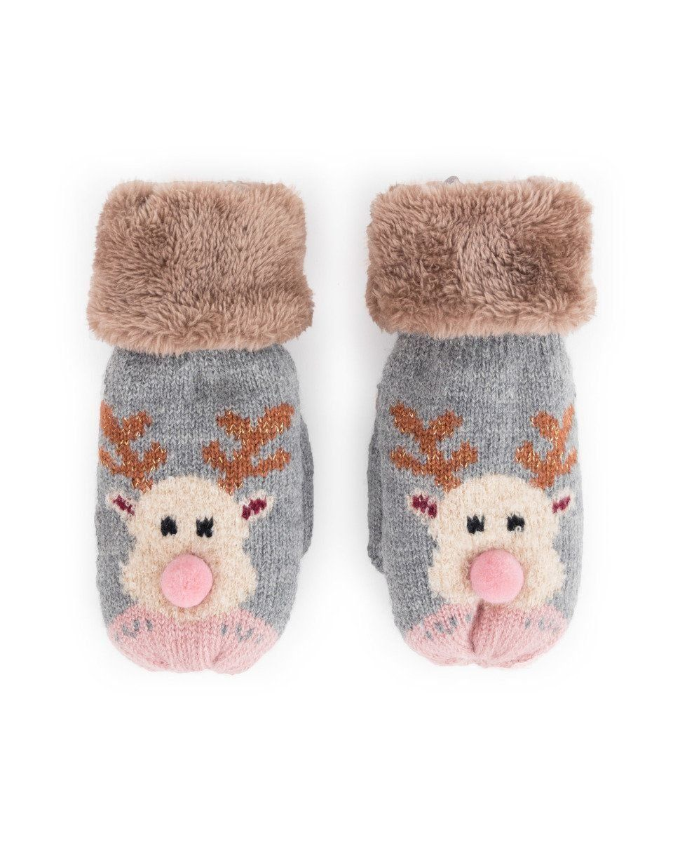 Powder Cosy Kids Rudolph Mittens in Slate