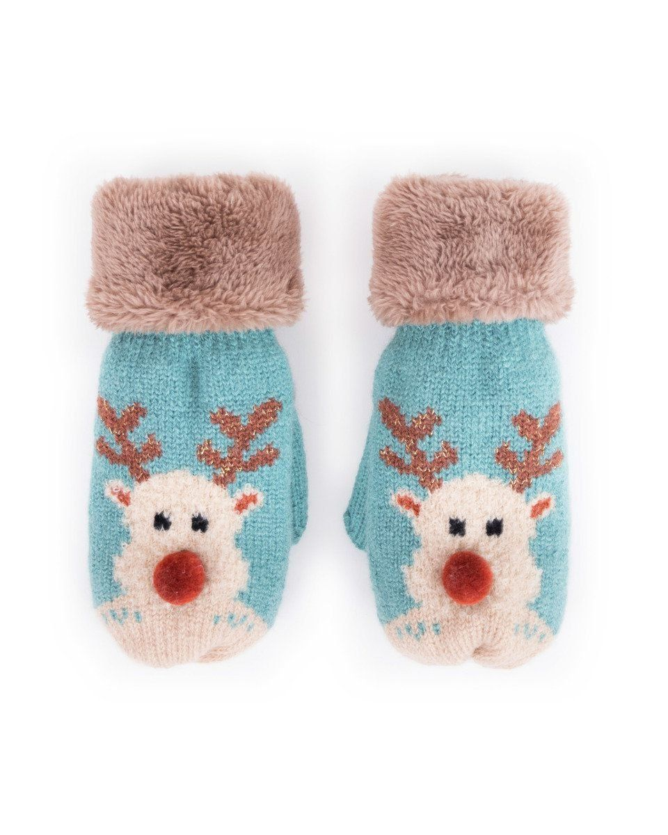 Powder Cosy Kids Rudolph Mittens in Ice
