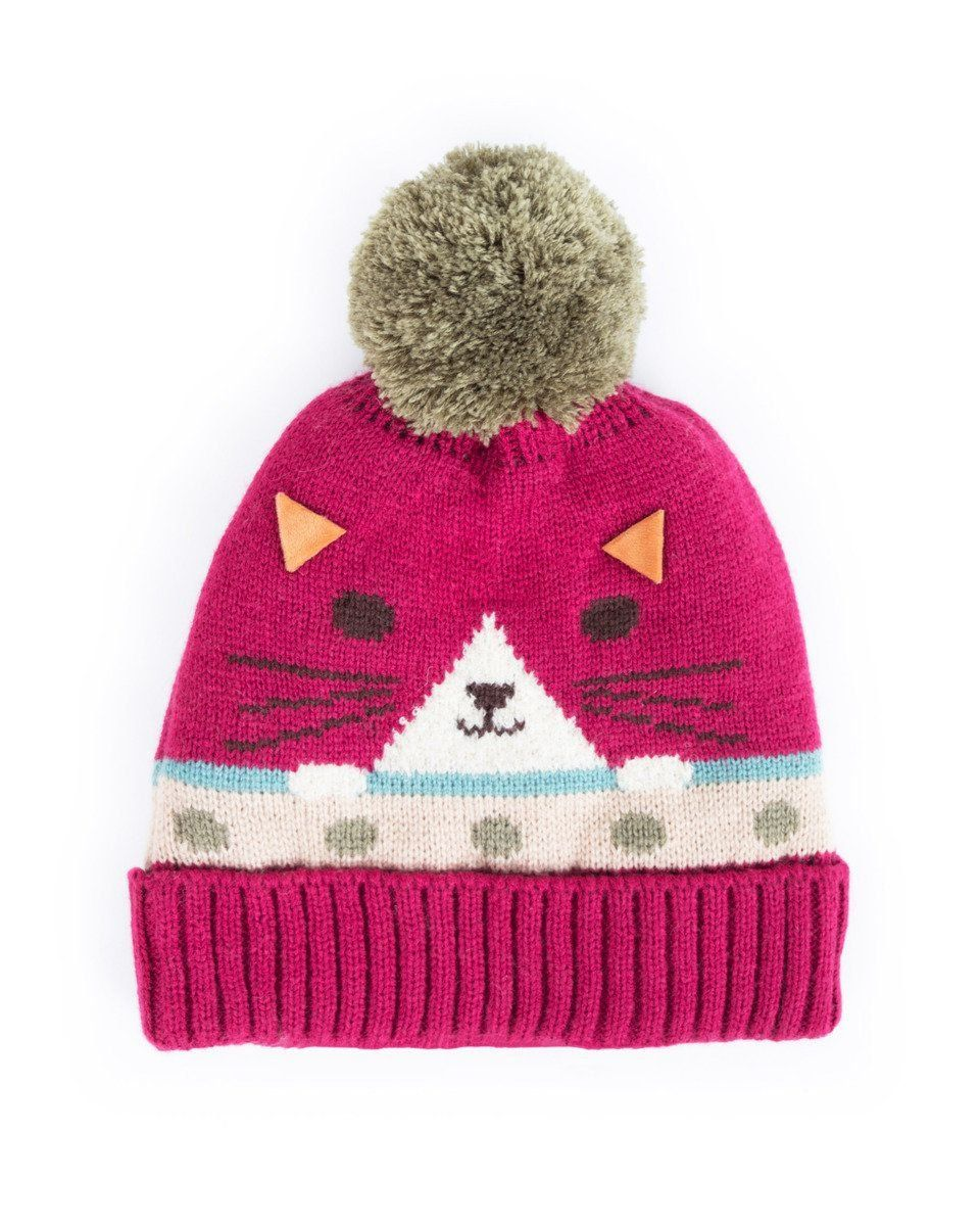 Powder Cosy Kids Cat Hat in Berry