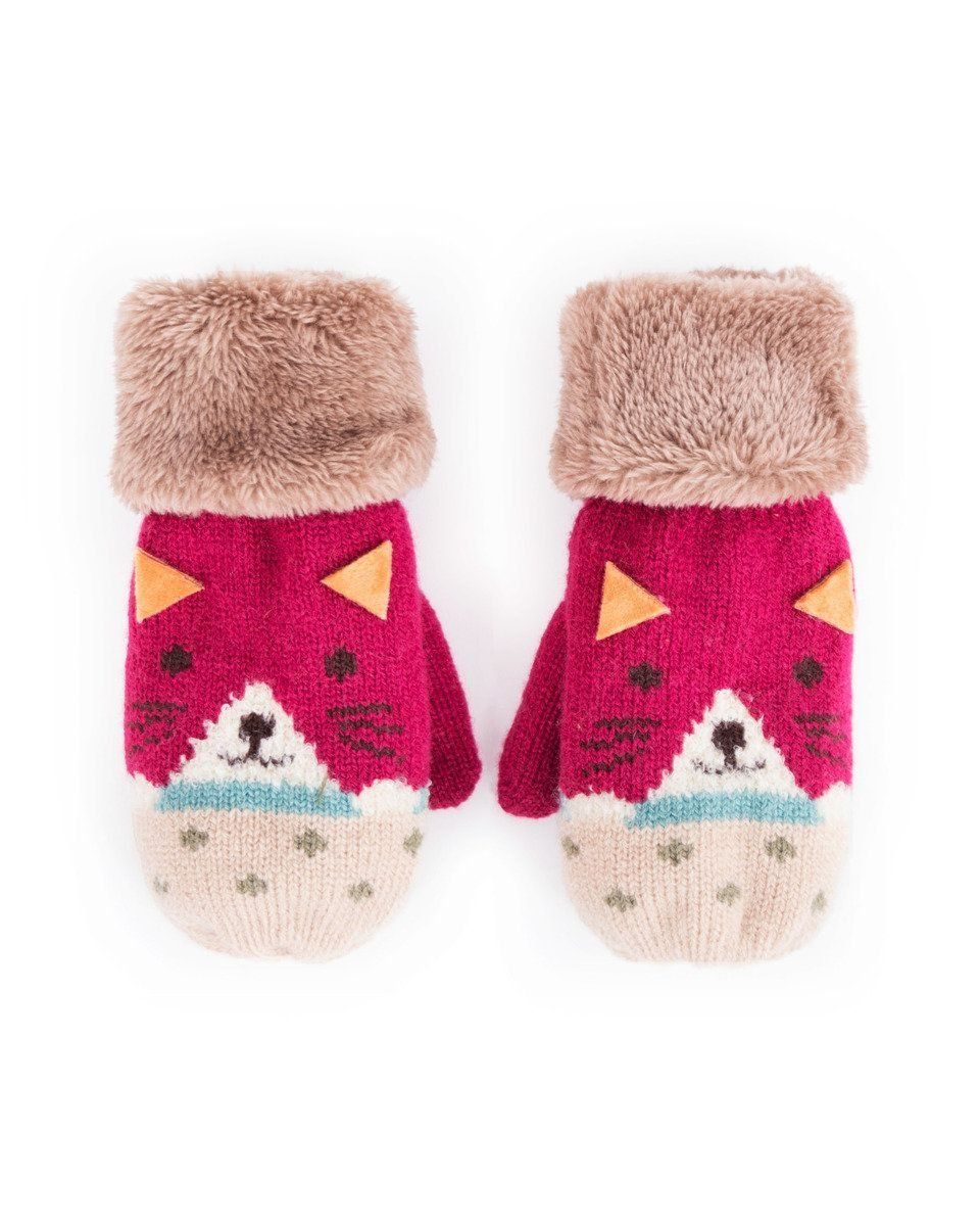 Powder Cosy Kids Cat Mittens in Berry