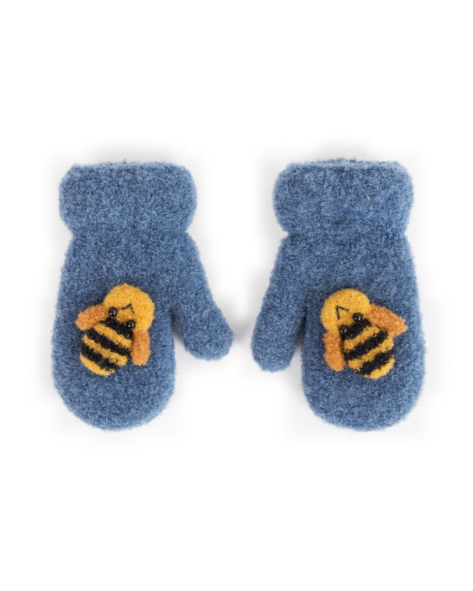 Powder Baby Bee Mittens in Navy