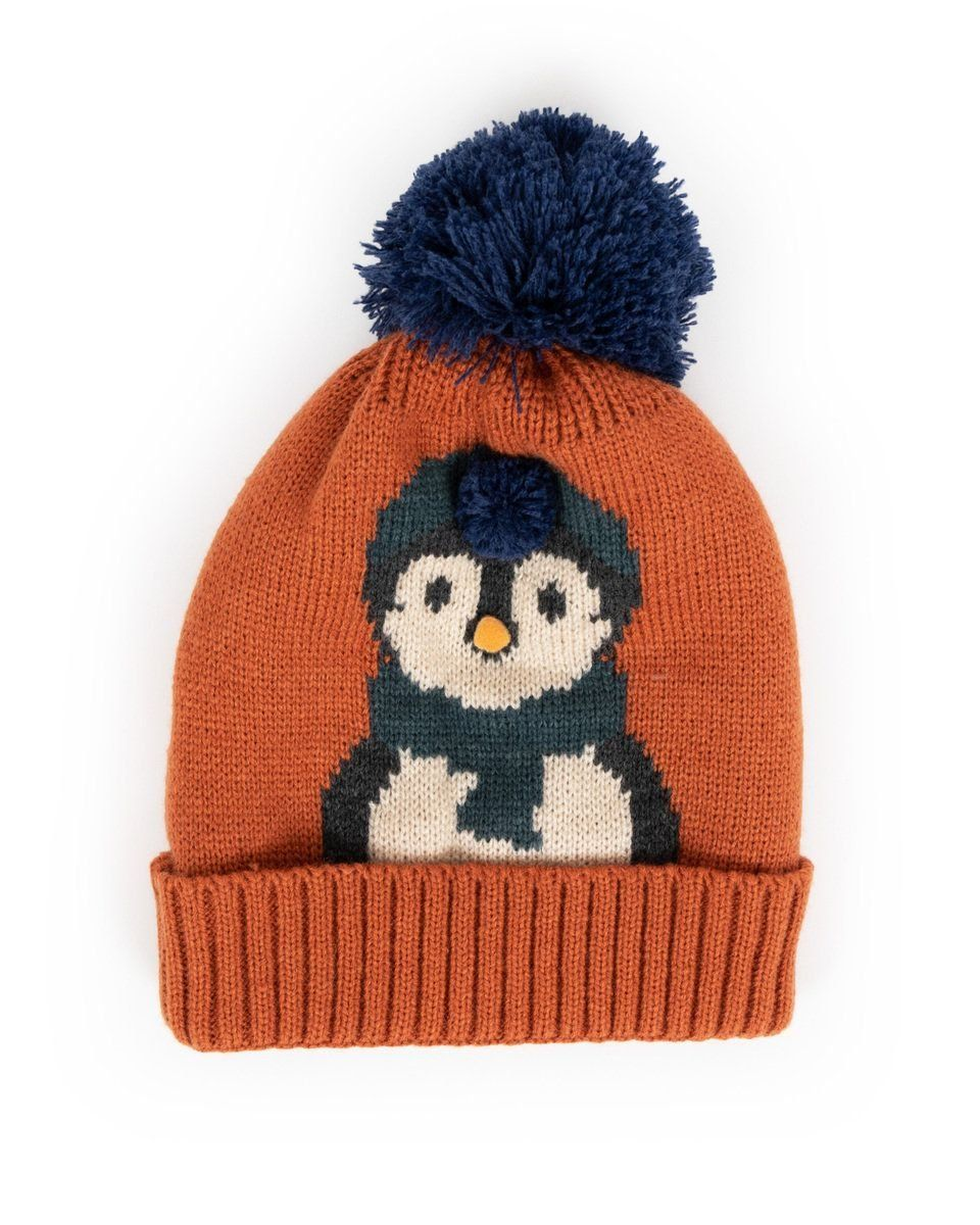 Powder Cosy Kids Penguin Hat in Orange