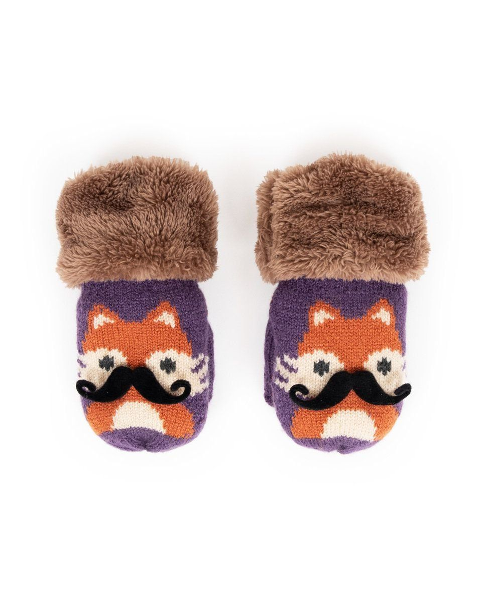Powder Cosy Kids Fox Mittens in Damson
