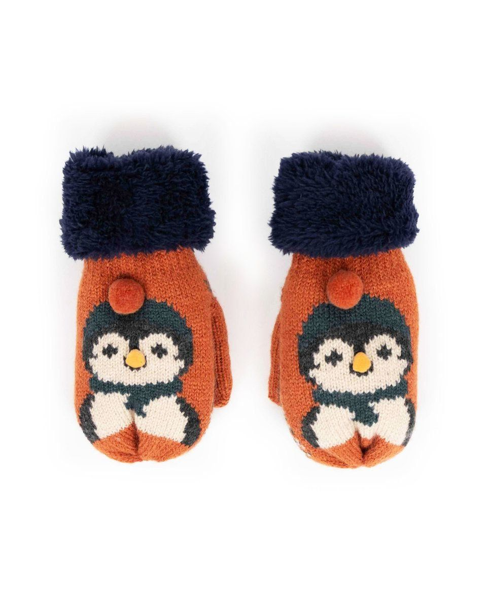 Powder Cosy Kids Penguin Mittens in Tangerine