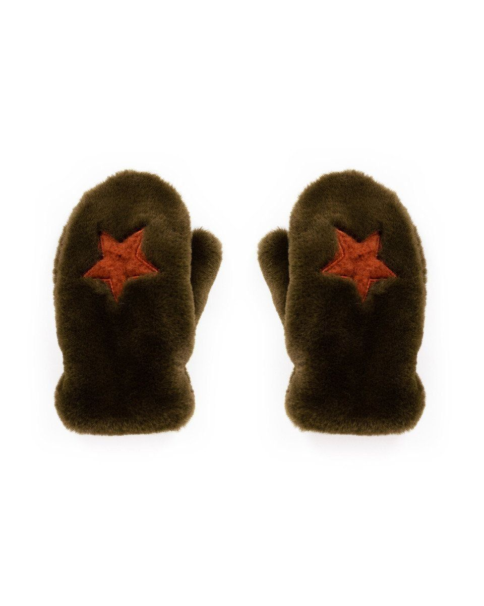 Powder Kids Fluffy Star Mittens in Olive