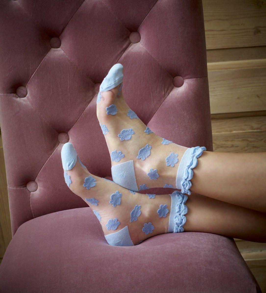 Blue Morning Glory Sheer Socks X 2