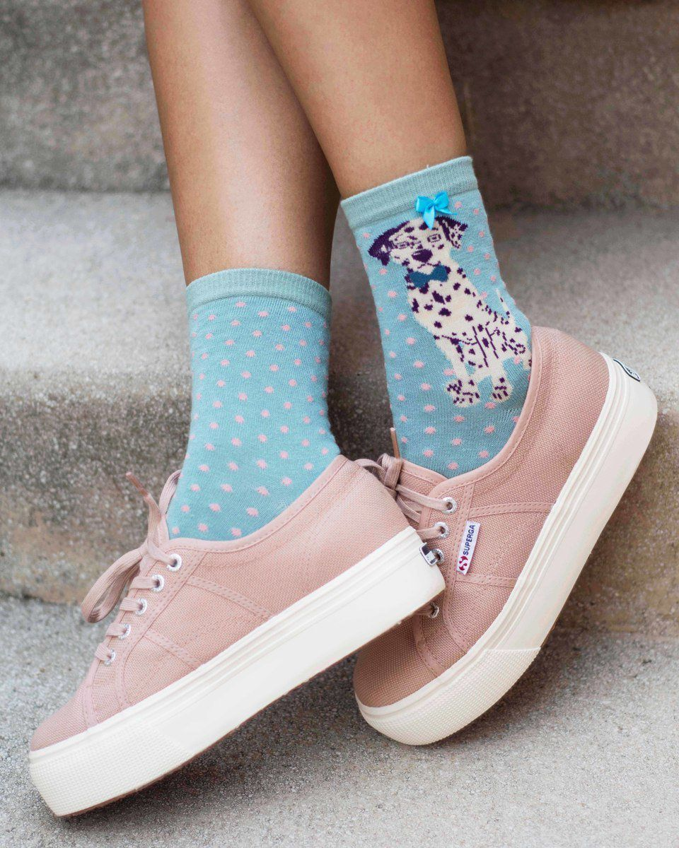 Powder Dalmatian Ankle Sock in Sky Blue