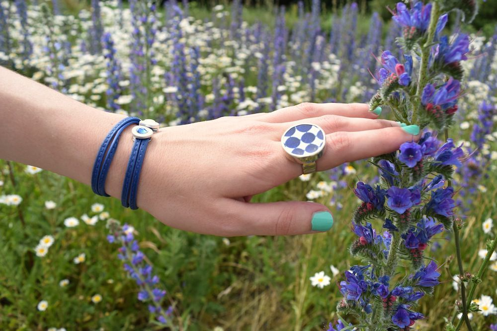 Vienna Bracelet Blue Leather and Worn Silver