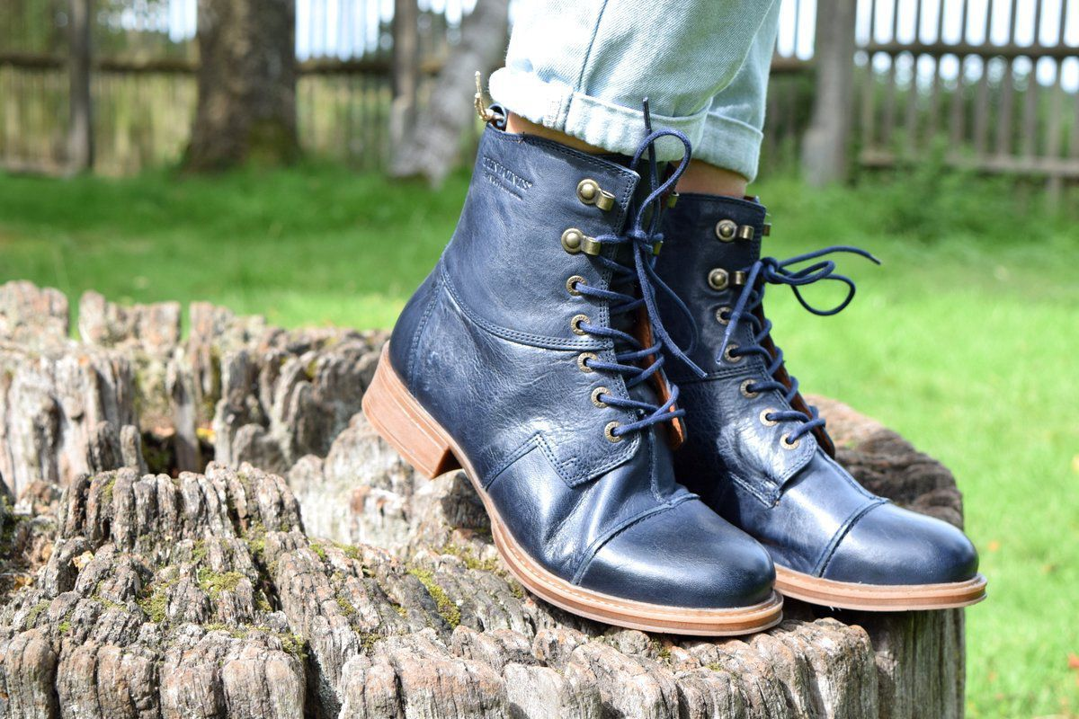 Seconds Ten Points Pandora Lace-Up Boot in Dark Blue Seconds
