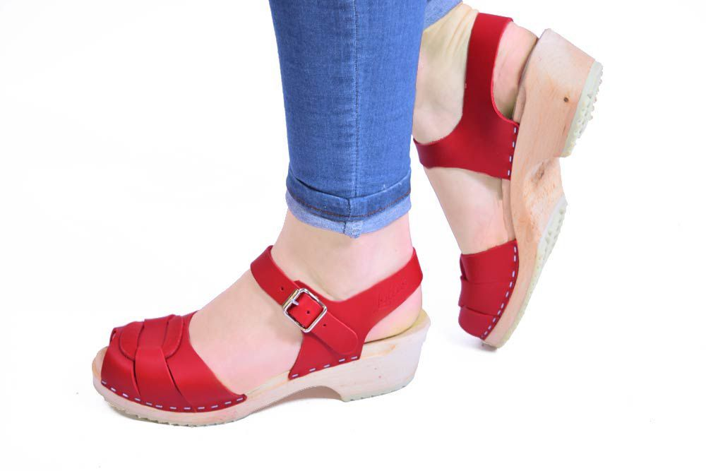 Lotta From Stockholm Low Heel Peep Toe Clog in Red