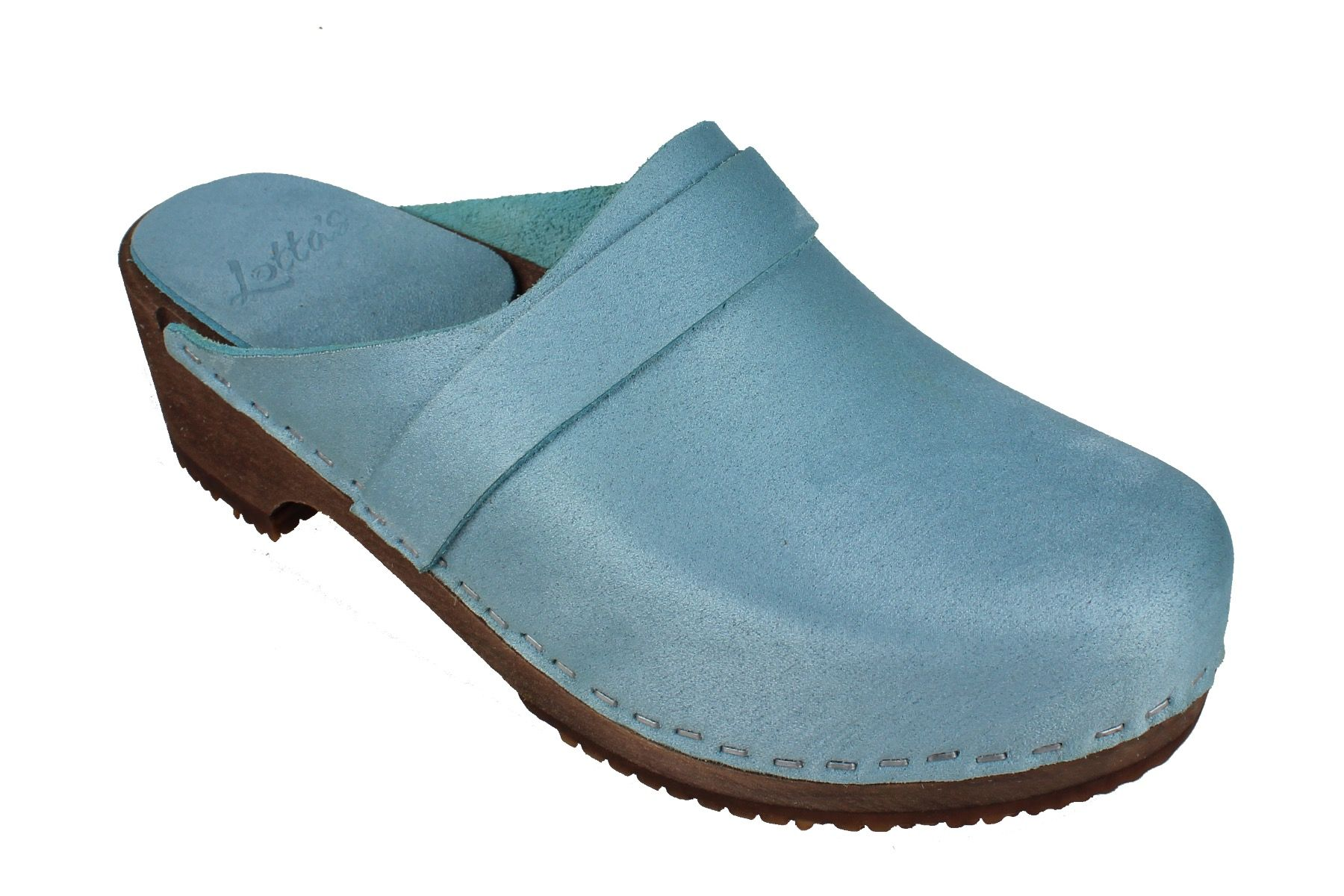Elsa Classic in Blue Stain Resistant Nubuck on Brown Base