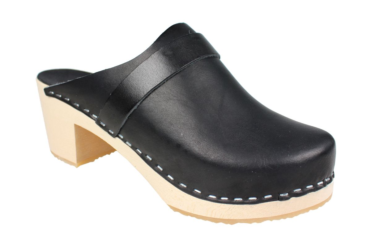 Elsa High Heel Classic Clog Black Leather
