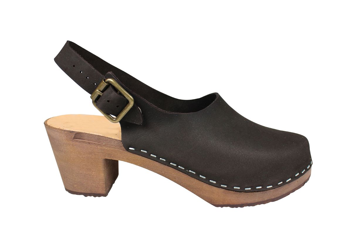 Eva Sling Black Nubuck Clogs Seconds