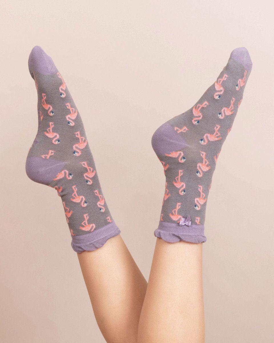 Powder Flamingo Ankle Sock in Slate