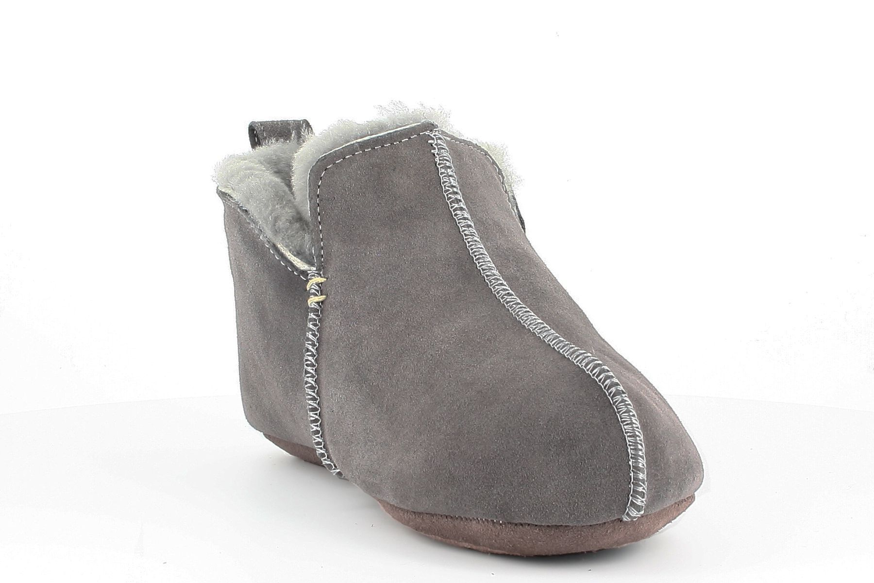 Sheepskin Bootee Slippers in Light Grey