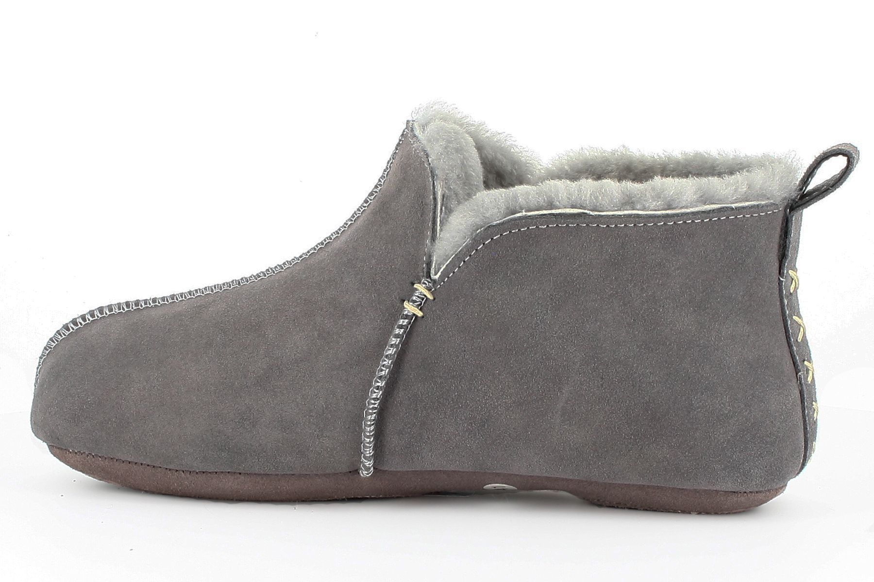 Sheepskin Bootee Slippers in Light Grey