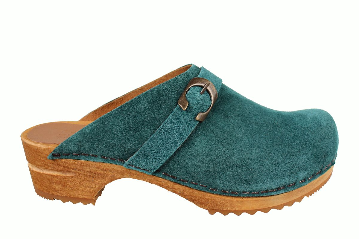Sanita Hedi Clogs in Dark Teal Suede