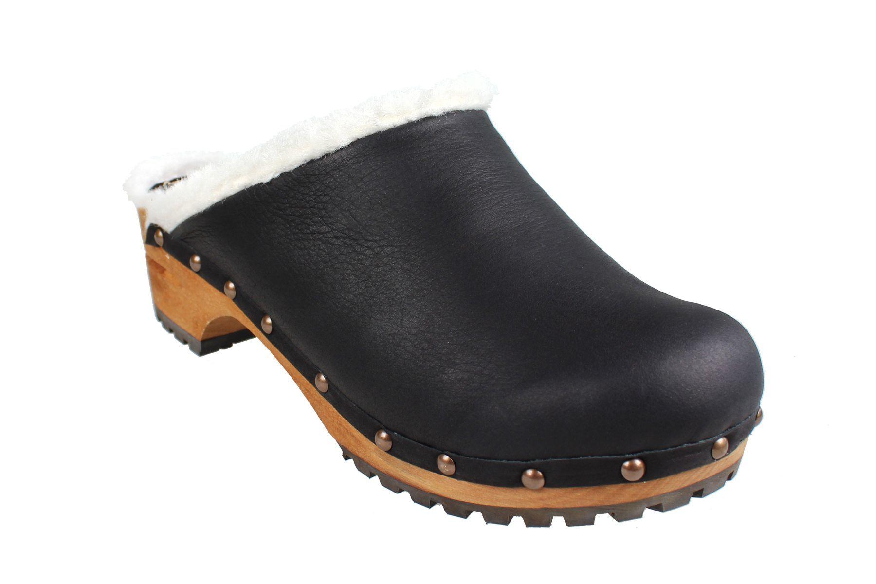 Sanita Hese Wooden Clog with shearling fur in Yak Nubuck Leather Black