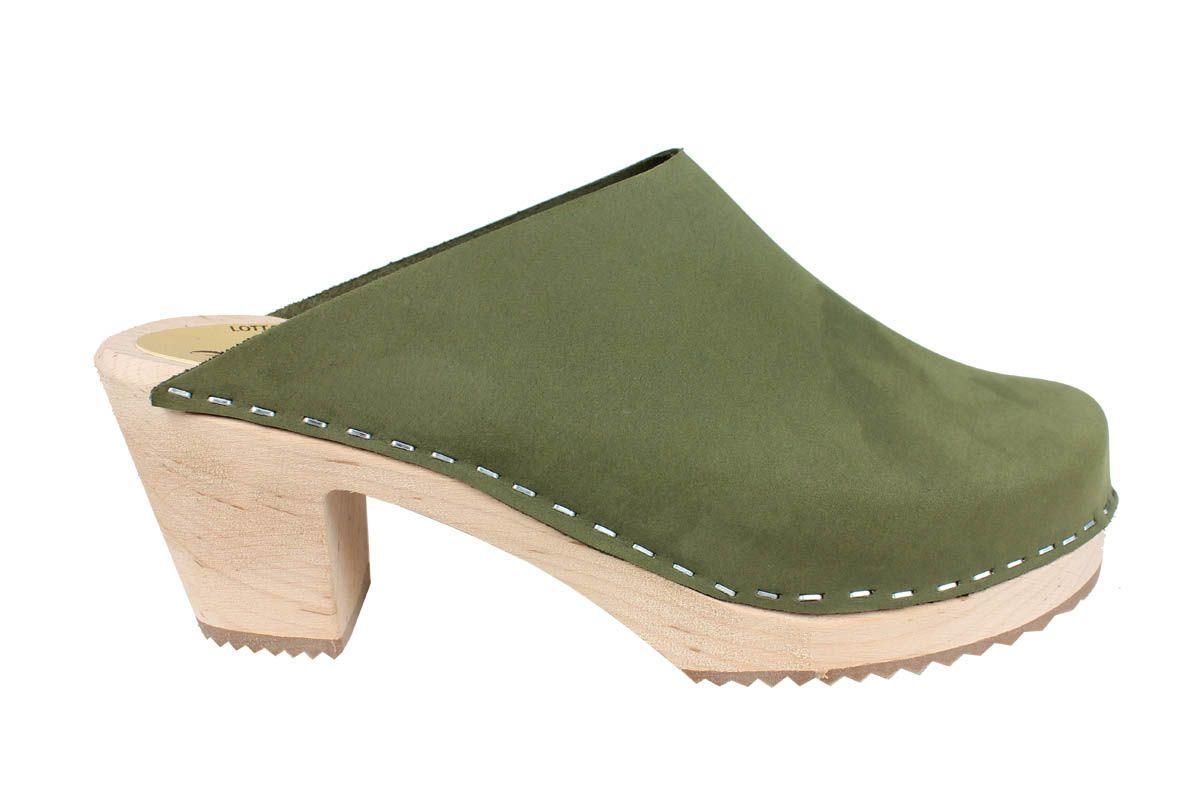 High Heel Classic Clog Green Oiled Nubuck