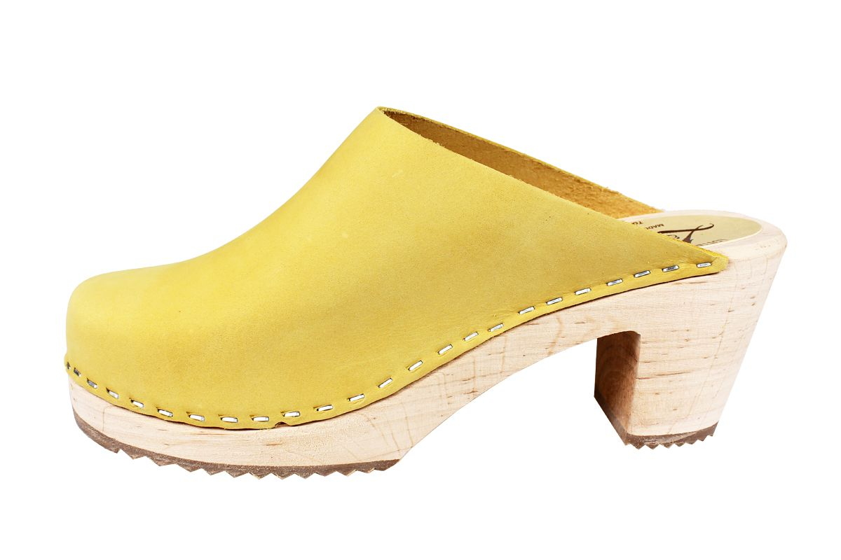 High Heel Classic Clog Yellow Oiled Nubuck