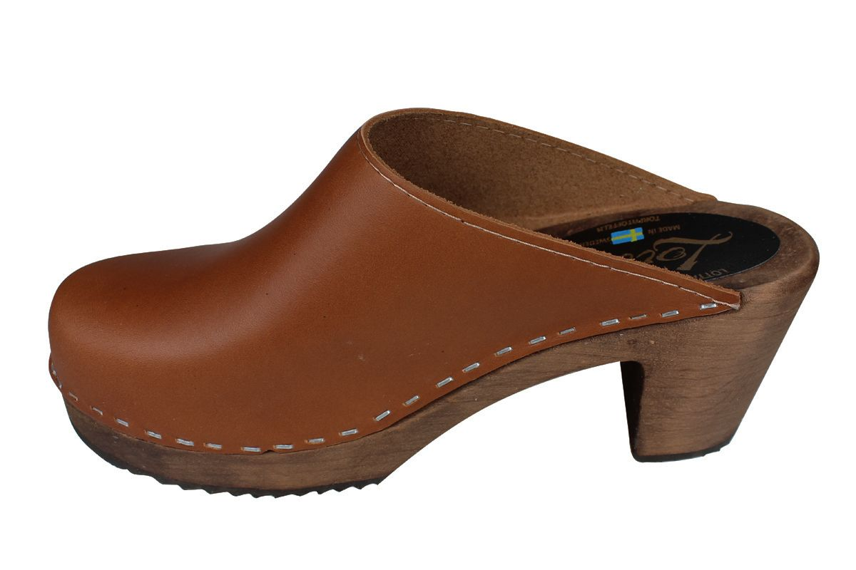 High Heel Classic Cinnamon Clogs on Brown Base Seconds