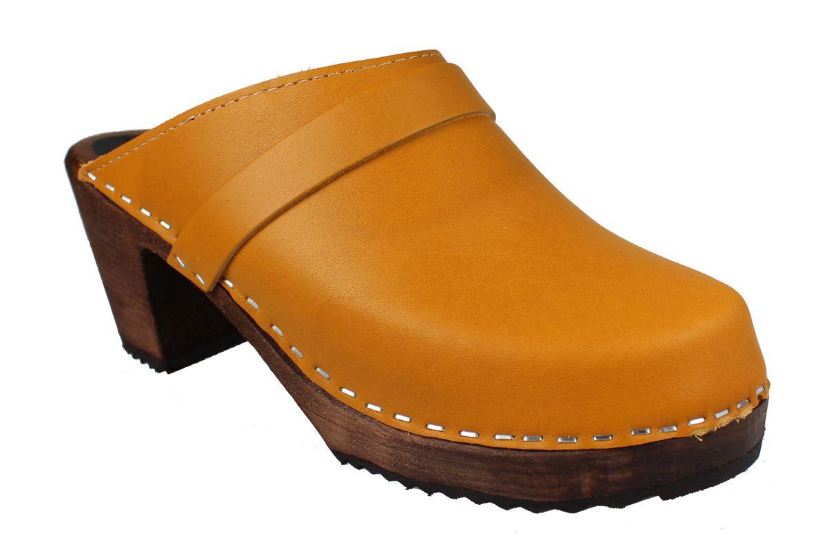 High Heel Classic Clog Honey on Brown Base