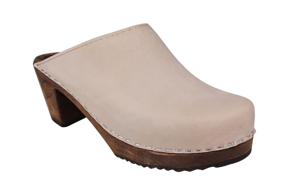 High Heel Classic Oatmeal Oiled Nubuck Clogs on Brown Base Seconds