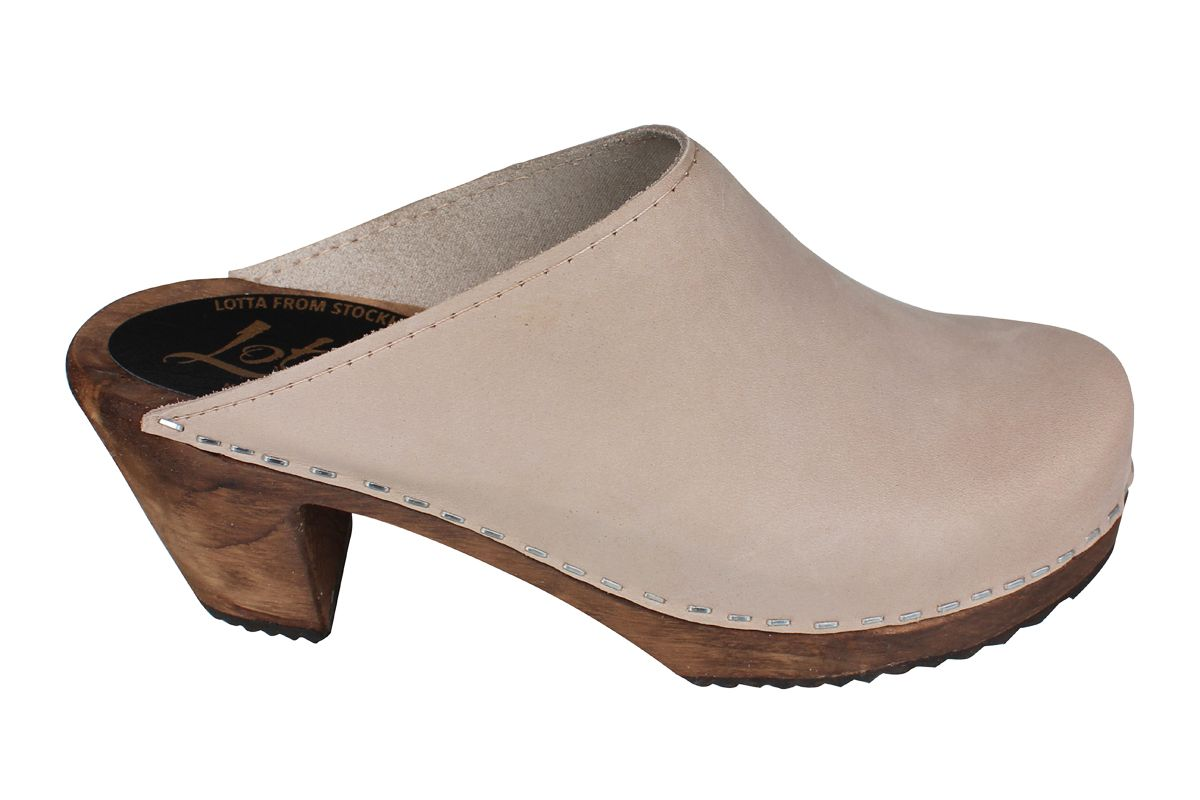 High Heel Classic Oatmeal Oiled Nubuck Clogs on Brown Base