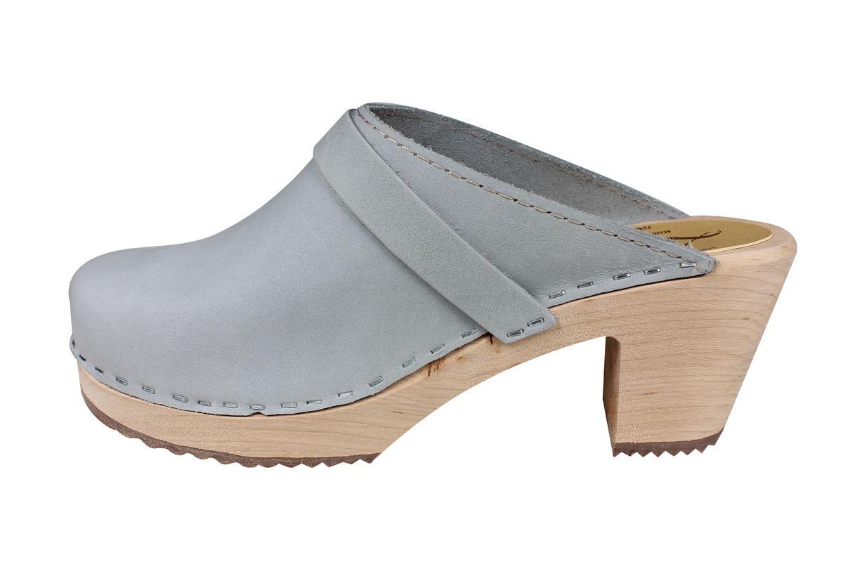 High Heel Classic Sea Grey Oiled Nubuck Clogs Seconds