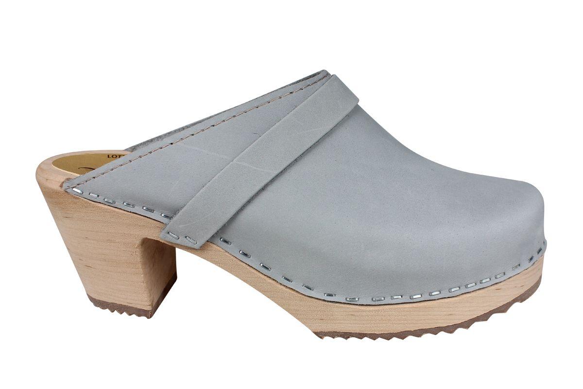 High Heel Classic Sea Grey Oiled Nubuck Clogs