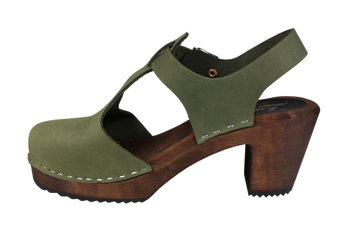 Highwood T-Bar Green Oiled Nubuck on Brown Base