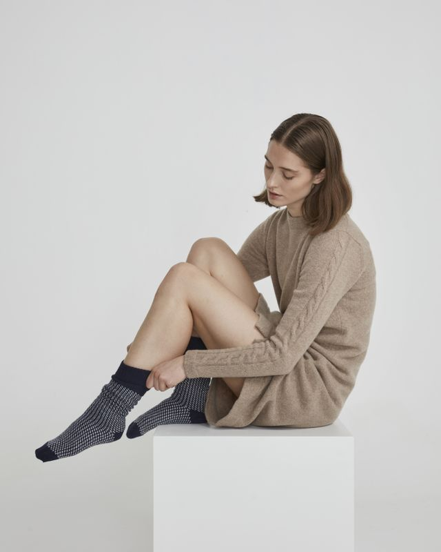 Holebrook Malo Raggsocka in Navy and Off White