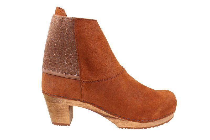 Sanita Lilly Square Clog Boot in Cognac Suede