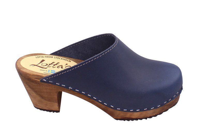 High Heel Classic Clog Navy with Brown Sole