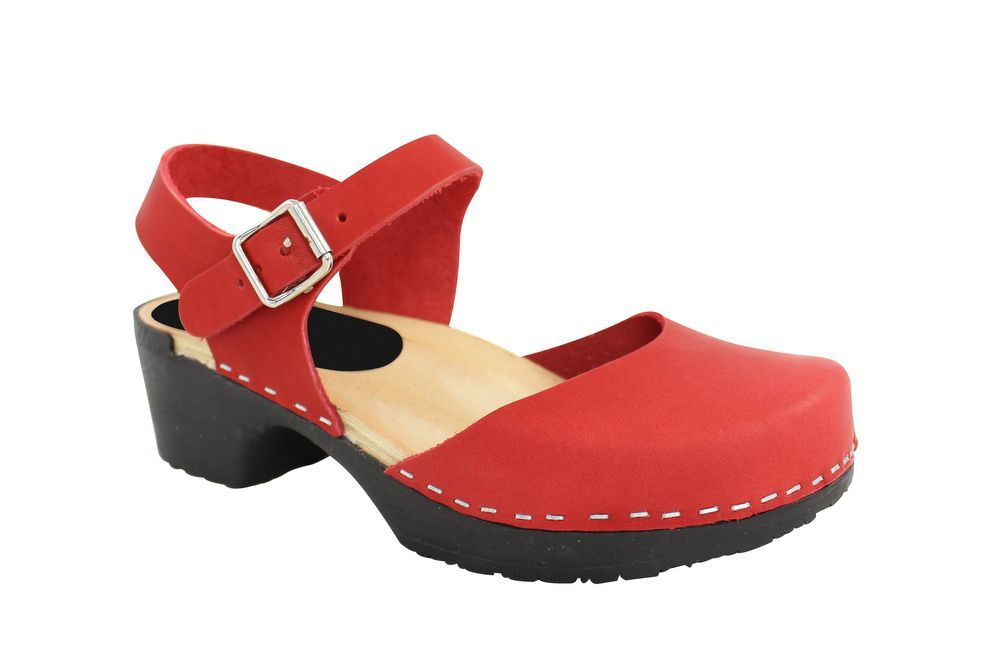 Lotta From Stockholm Soft Sole Red Täckt Mary Jane in Waxed Red Leather Main