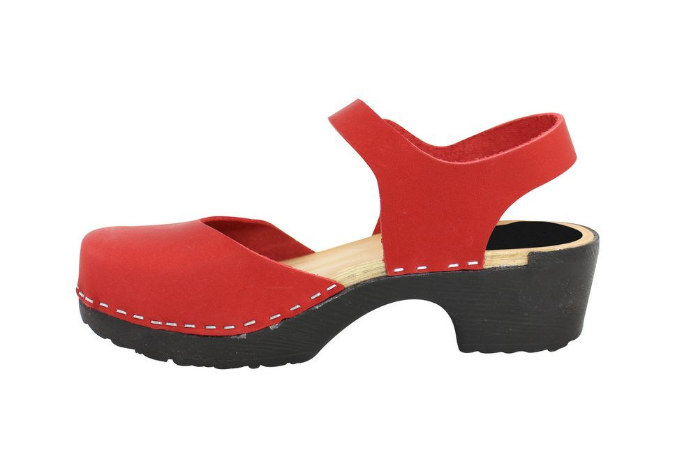Lotta From Stockholm Soft Sole Red Täckt Mary Jane in Waxed Red Leather Rev Side