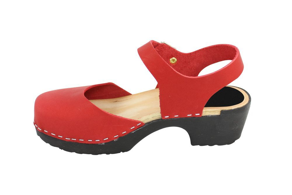 Lotta From Stockholm Soft Sole Red Täckt Mary Jane in Waxed Red Leather Rev Side 2